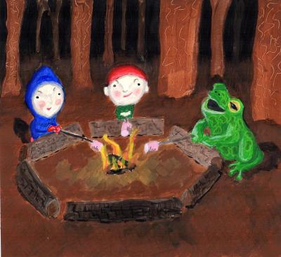 Children and frog at camp fire