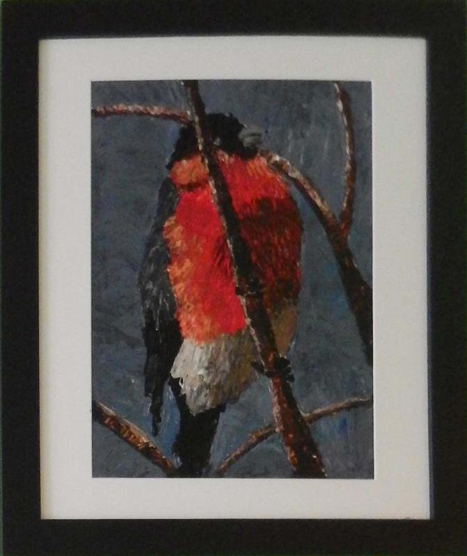 Impasto acrylic painting of male bullfinch sitting at top of tree.