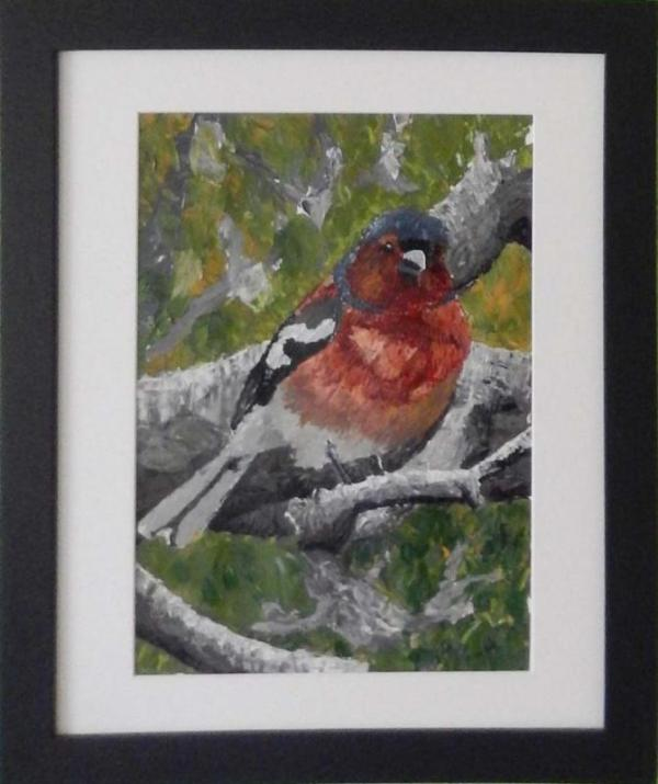 Acrylic painting of male chaffinch sitting on the branch of a tree.
