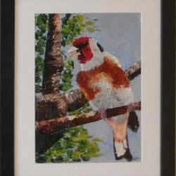 Impasto acrylic painting of goldfinch eating a seed
