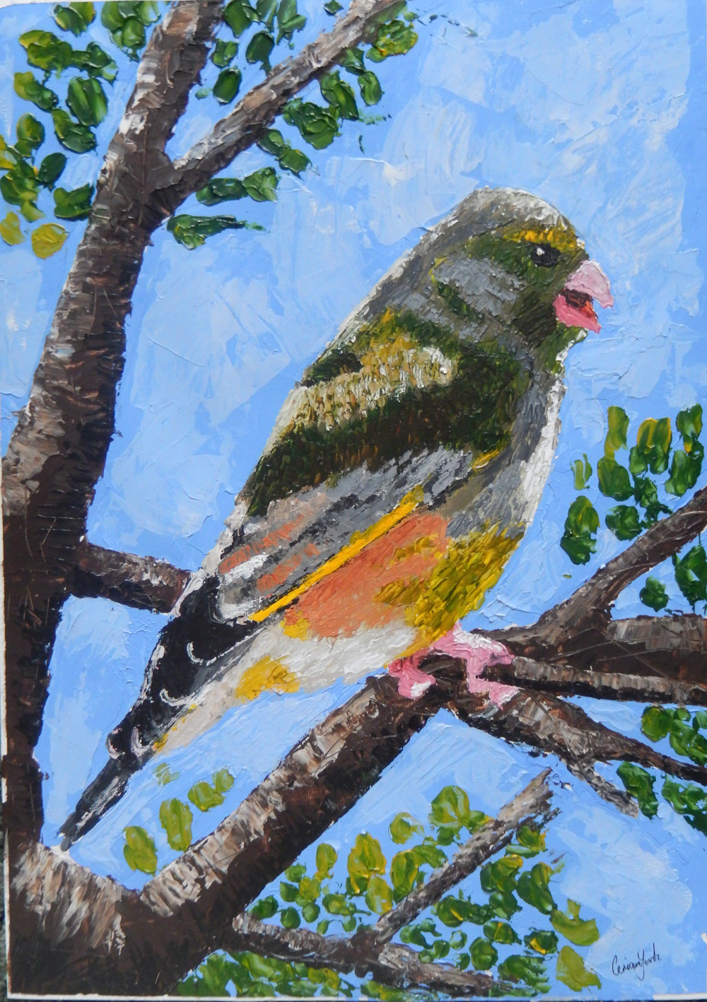 Greenfinch Painting