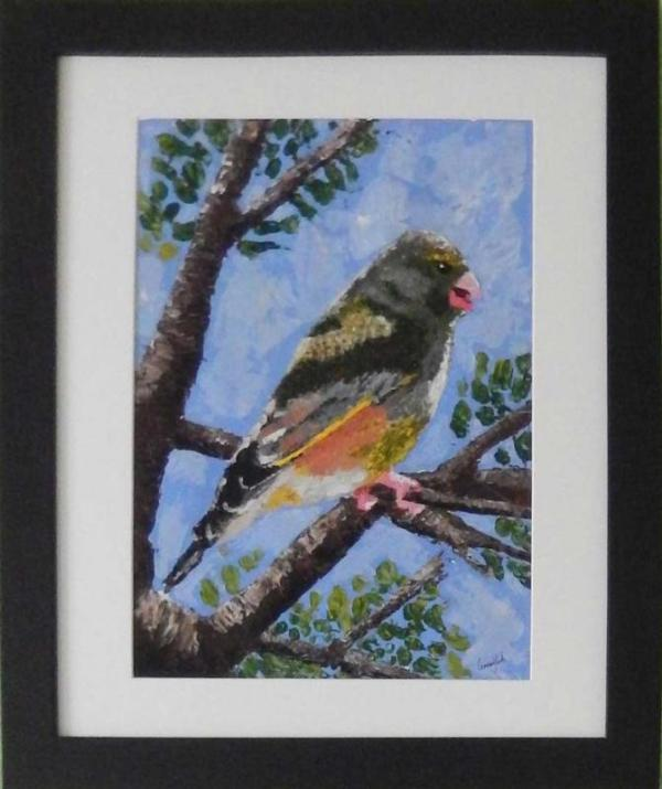 Acrylic impasto painting of greenfinch catching the sun