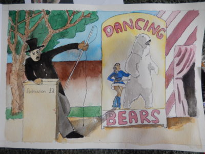 Pen and wash of dancing bears poster