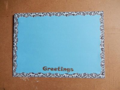 Blue and patterned backing papers