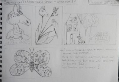 Thumbnails of card ideas in my sketchbook.