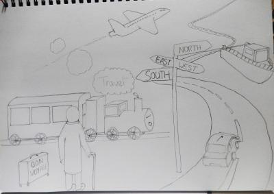 Pencil sketch for travel