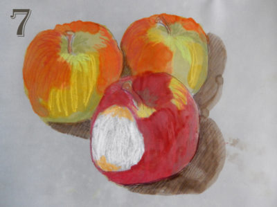 3 apples in alcohol ink and crayon on vellum