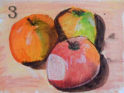 3 apples in acrylic ink and charcoal