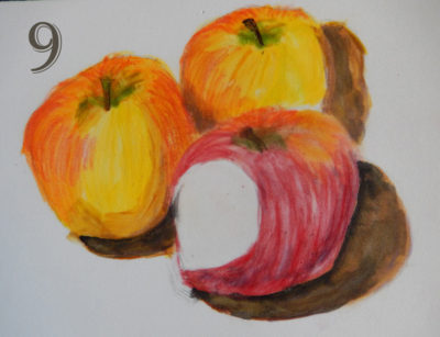 3 apples in gelatos and coloured pencil