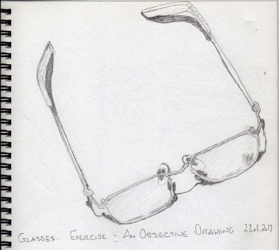 Pencil sketch of glasses