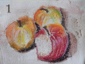 3 apples in oil pastel on texture paste