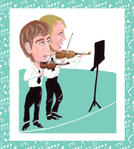 Caricature of music players