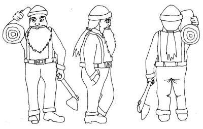 Wood-cutter character design views