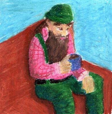 Oil pastel woodcutter