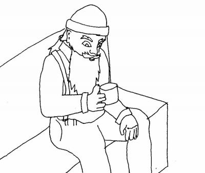 Wood-cutter drinking tea