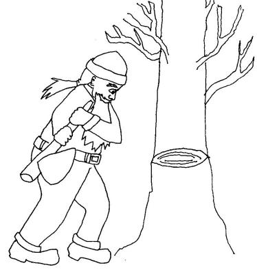 Wood-cutter and tree