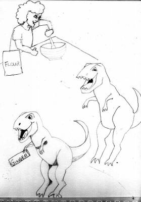 T-rex and boy