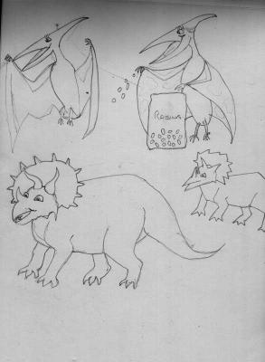 Triceratops and Pterodactyl