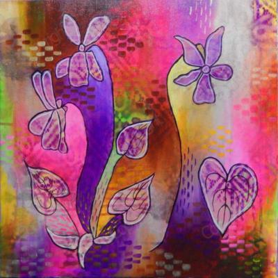 Bright pinks and purples around violet motif