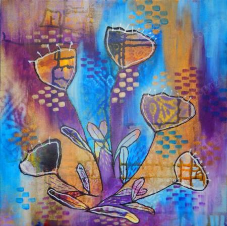 Blue, purple and gold painting