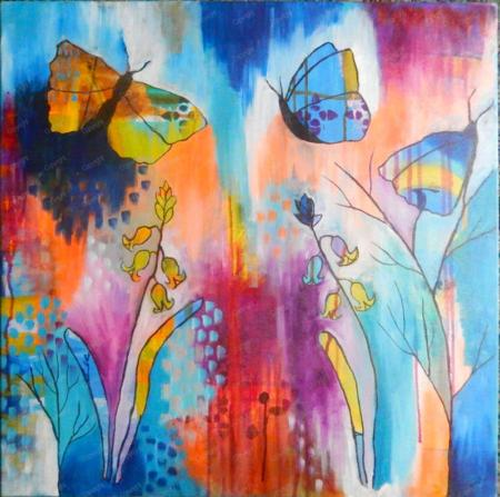 Butterfly and bluebell themed art