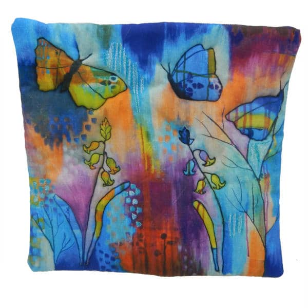 Cushion cover showing through the bluebell gates painting
