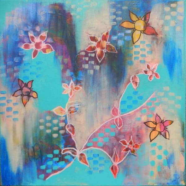 Bue painting with red star flowers