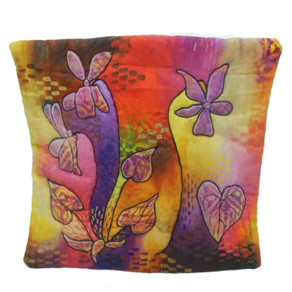 Cushion cover showing vivacious violets painting
