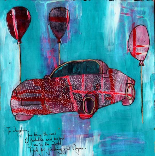 A red car on a blue background with balloons