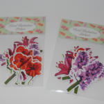 Floral illustration stickers in packets