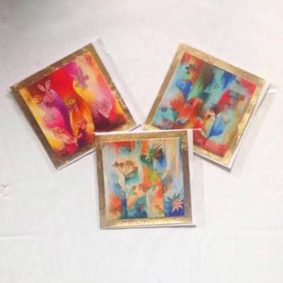 3 gold leaf edged cards