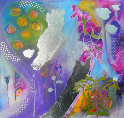 Pinks, purples and silver painting