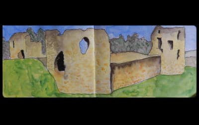 Watercolour sketch of flint castle