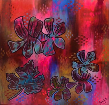 pinks and blues geranium painting